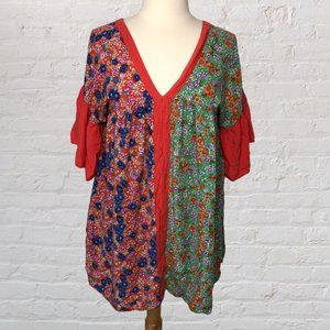 Umgee Boho Blouse Hippie Floral M Flawed